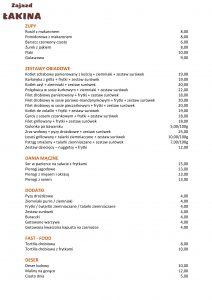 Zajazd Łakina menu strona 1