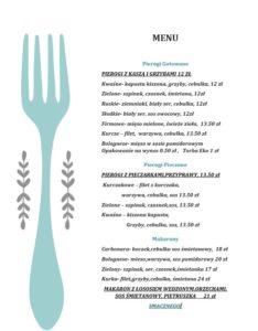 Pierogarnia menu