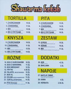 Menu shawarma w Wągrowcu